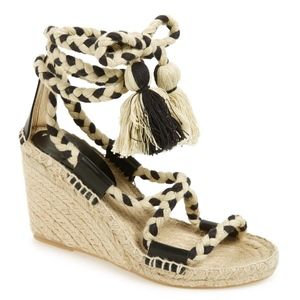 Soludos Boho Lace-Up Gladiator Wedge with Tassels